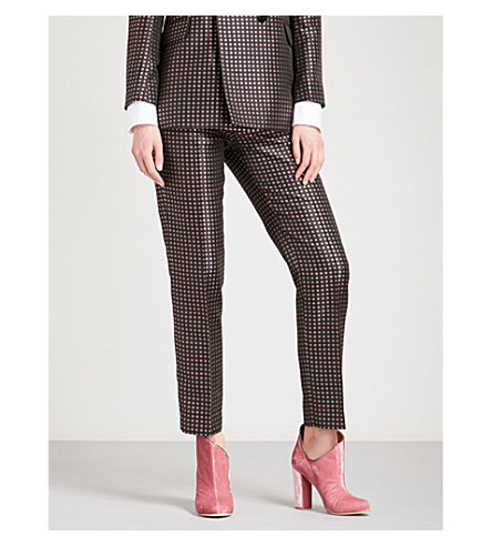 ALEXACHUNG Straight high-rise floral-jacquard trousers (Multi