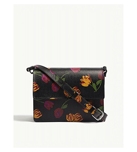 GANNI Gallery floral print leather cross-body bag (Black
