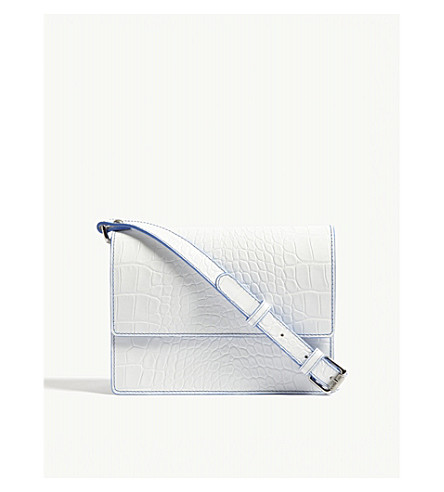 GANNI Gallery reptile-embossed leather cross-body bag (Bright+white