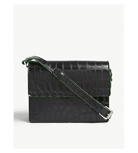 GANNI Gallery snakeskin-embossed leather cross-body bag (Black