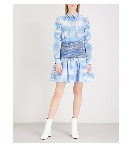 GANNI Charron smocked checked cotton-blend dress (Marina