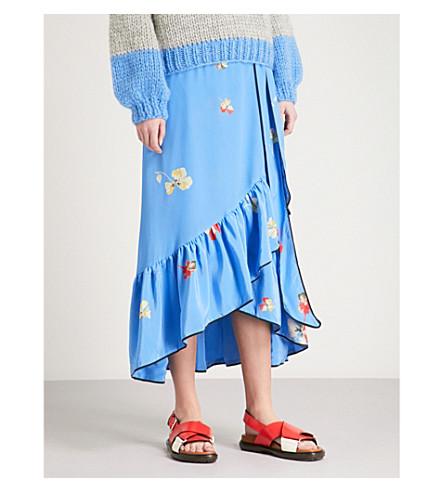 GANNI Joycedale floral-print silk-crepe skirt (Marina