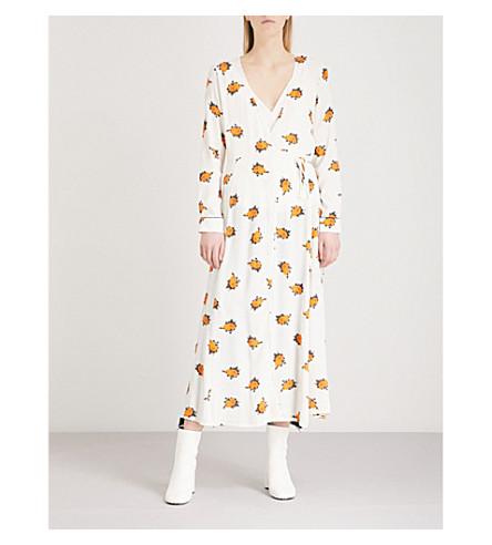 GANNI Roseburg floral-print crepe midi dress (Vanilla+ice