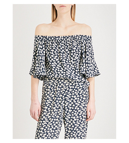 GANNI Roseburg off-the-shoulder crepe top (Total+eclipse