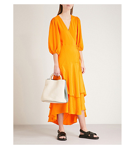 GANNI Wilkie silk and cotton-blend seersucker wrap dress (Turmeric+orange
