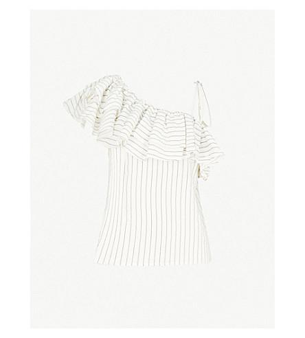 GANNI Wilkie silk and cotton-blend top (Vanilla+ice