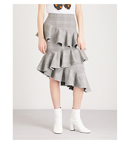 GANNI Garvey checked asymmetric woven skirt (Paloma+melange