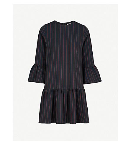 GANNI Clark striped crepe dress (Total+eclipse