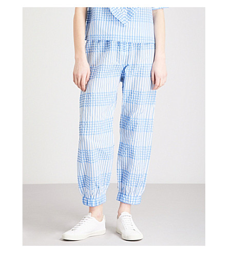 GANNI Charron checked cotton-blend jogging bottoms (Marina