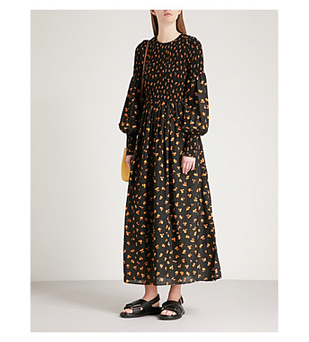 GANNI Beacon smocked cotton and silk-blend dress (Black