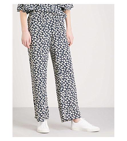 GANNI Roseburg wide-leg crepe trousers (Total+eclipse