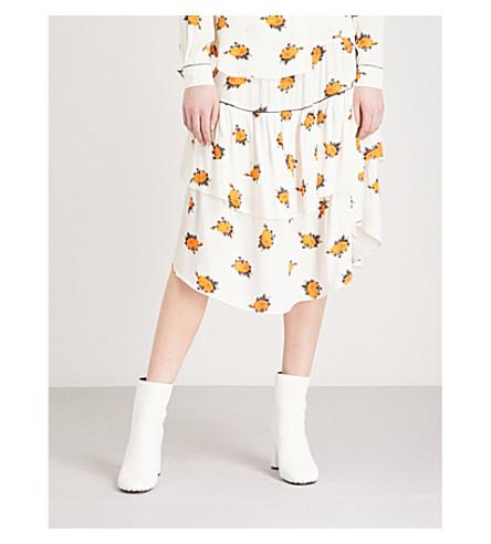 GANNI Roseburg floral-pattern tiered crepe skirt (Vanilla+ice