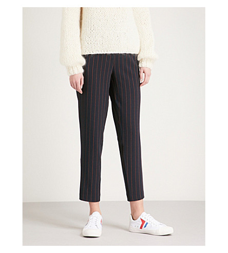GANNI Clark tapered cropped striped crepe trousers (Total+eclipse