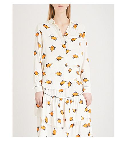 GANNI Roseburg floral-patterned crepe shirt (Vanilla+ice