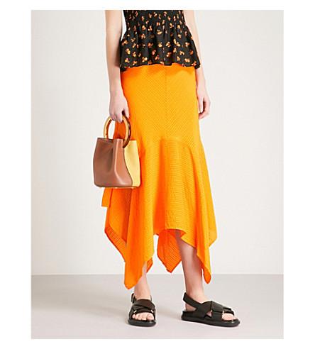GANNI Wilkie striped silk and cotton-blend seersucker skirt (Turmeric+orange