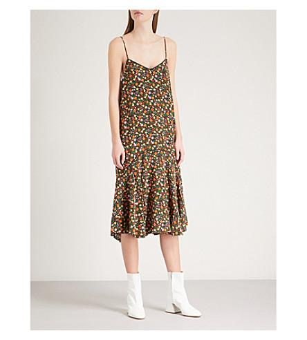 GANNI Joycedale silk-crepe dress (Multicolour