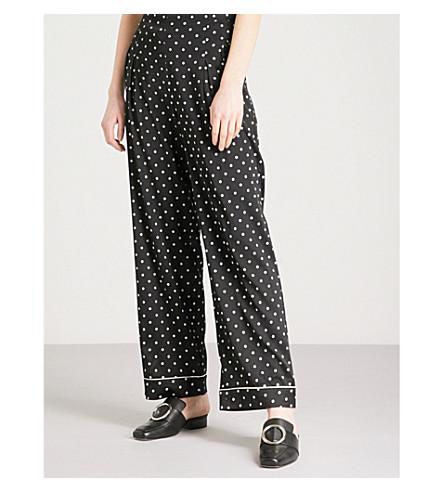 GANNI Dufort polka dot-patterned wide-leg silk-blend trousers (Black