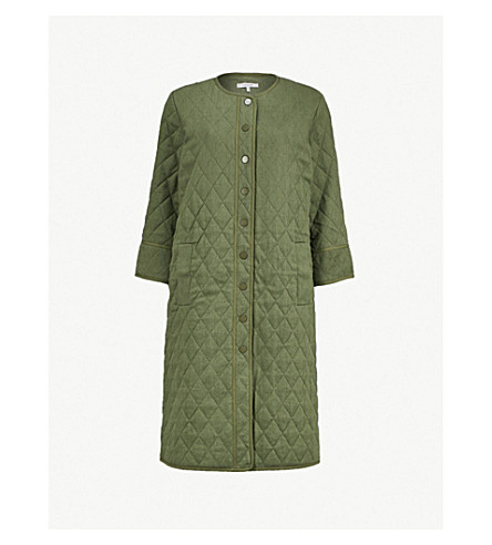 GANNI Camellia quilted linen and cotton-blend coat (Army