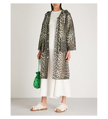 GANNI Cherry Blossom hooded PVC coat (Leopard