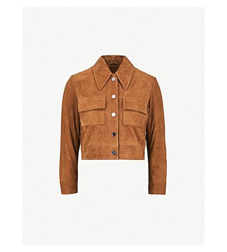 GANNI Salvia suede jacket (Cognac