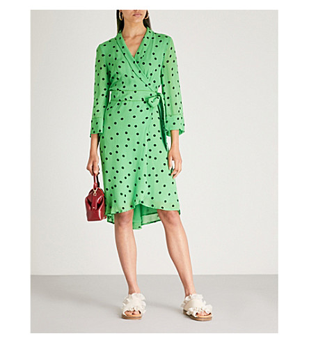 GANNI 精致的波点绉裹连衣裙 (经典 + 绿色