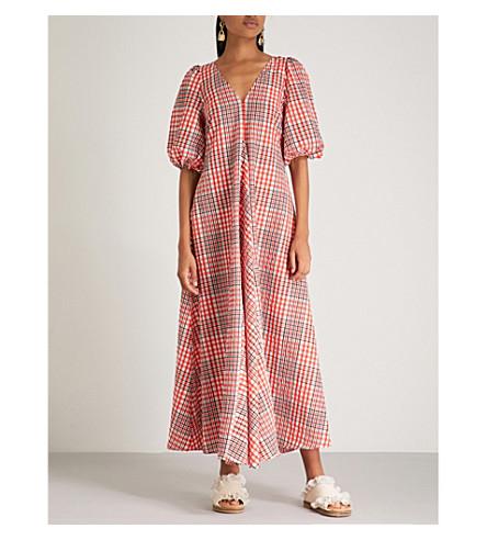 apple GANNI GANNI cotton Big maxi blend Charron Charron dress red 5qwOx8Tw