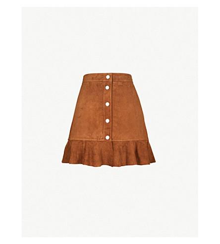 GANNI Salvia suede mini skirt (Cognac