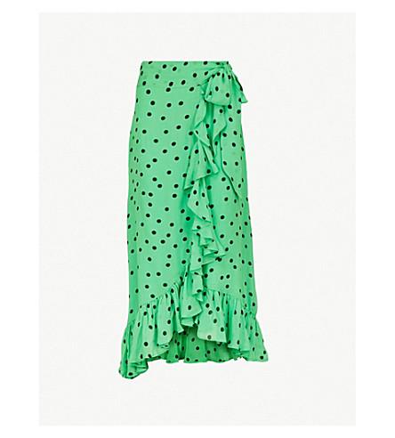 GANNI Dainty printed crepe wrap skirt (Classic+green