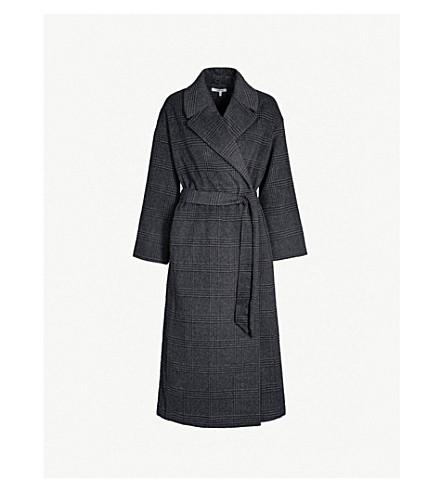 GANNI Woodside checked wool-blend coat (Ebony melange