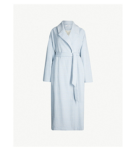 GANNI Woodside checked wool-blend coat (Serenity blue