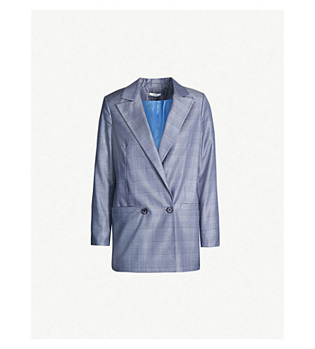 GANNI Merkel checked silk and wool-blend jacket (Serenity blue
