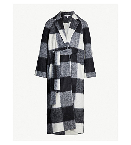 GANNI Mckinney checked wool-blend coat (Egret