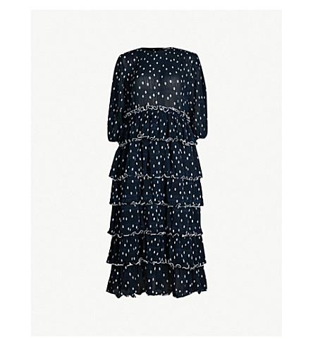 GANNI Lowell ruffled polka-dot chiffon dress (Ttl eclips