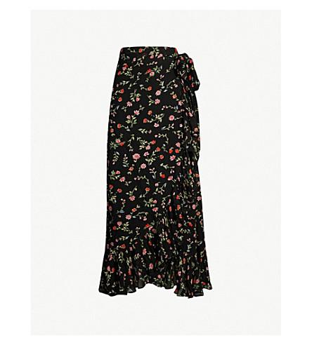 GANNI Elm high-rise crepe wrap skirt (Black