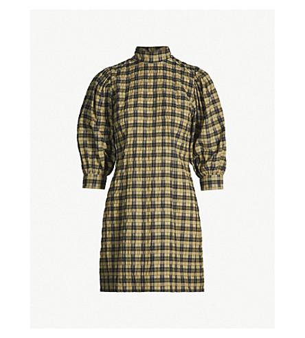 GANNI Charron checked cotton-blend dress (Aloe