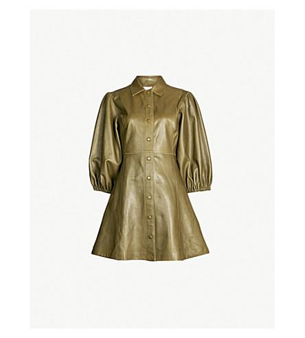 GANNI Meranti puffed-sleeve leather mini dress (Kalamata