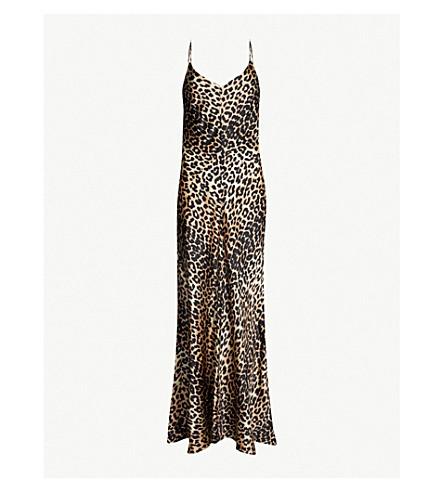 GANNI Blakely leopard-print stretch-silk slip dress (Leopard