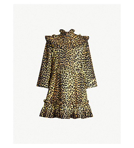 GANNI Bijou leopard-print cotton dress (Minionyell