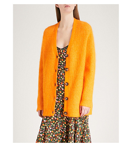 GANNI Evangelista wool and mohair-blend cardigan (Turmeric+orange