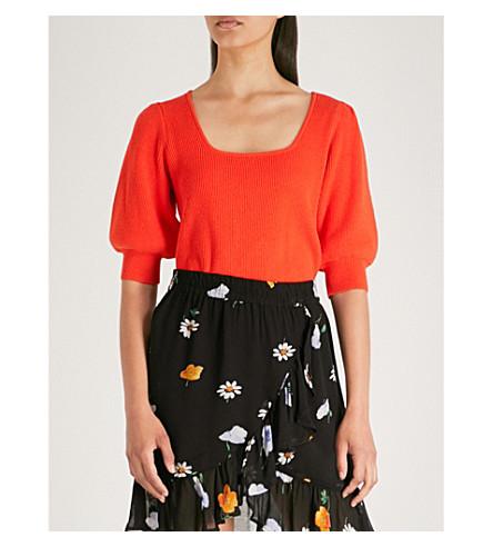 GANNI Poppy cotton-blend jumper Big apple red Clearance Ebay Tgjx7