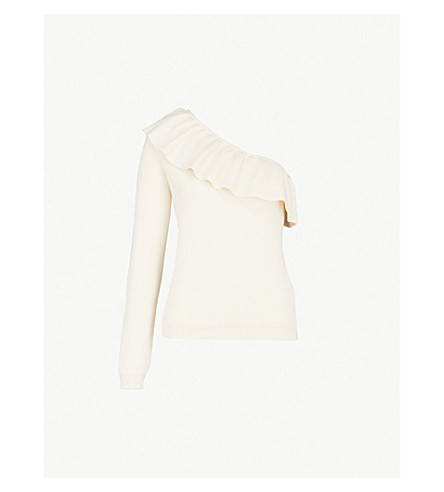 GANNI Poppy one-shoulder cotton-blend top (Egret