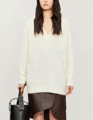 V-neck relaxed-fit wool-blend jumper