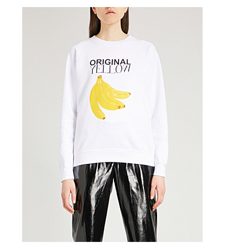 GANNI Original Yellow cotton-jersey sweatshirt (White
