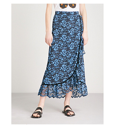 GANNI Flynn lace midi skirt (Total+eclipse
