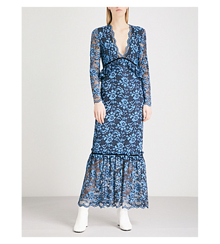 GANNI Flynn lace midi dress (Total+eclipse