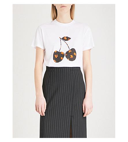 GANNI Harway Cherry cotton-jersey T-shirt (Bright+white