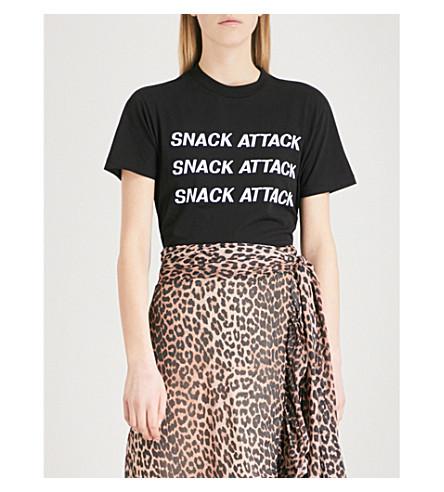 GANNI Harway Snack Attack cotton-jersey T-shirt (Black