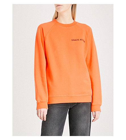 GANNI Lott cotton sweatshirt (Turmeric+orange