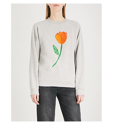 GANNI Lott cotton sweatshirt (Paloma+melange