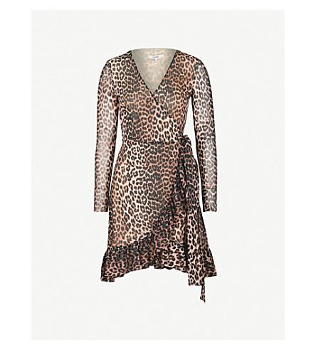 GANNI Tilden chiffon wrap dress (Leopard